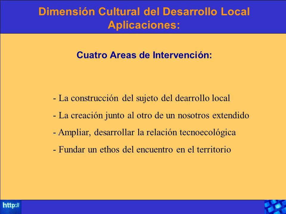 Dimensión Cultural del Desarrollo Local Aplicaciones: Cuatro Areas de Intervención: - La construcción del sujeto del dearrollo local - La creación jun