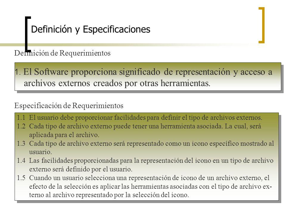 Definición y Especificaciones Definición de Requerimientos 1. El Software proporciona significado de representación y acceso a archivos externos cread