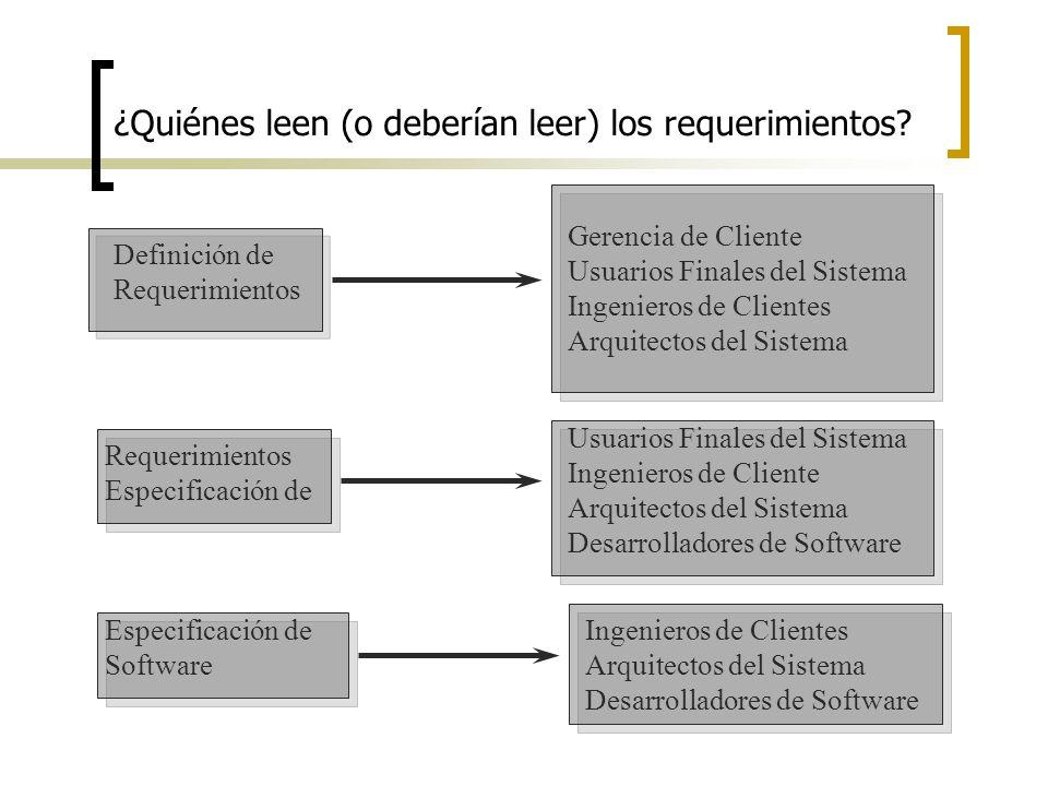 ¿Quiénes leen (o deberían leer) los requerimientos? Gerencia de Cliente Usuarios Finales del Sistema Ingenieros de Clientes Arquitectos del Sistema De