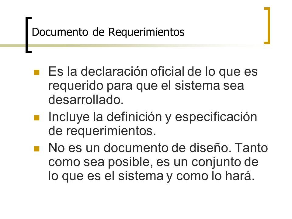 Documento de Requerimientos Es la declaración oficial de lo que es requerido para que el sistema sea desarrollado. Incluye la definición y especificac