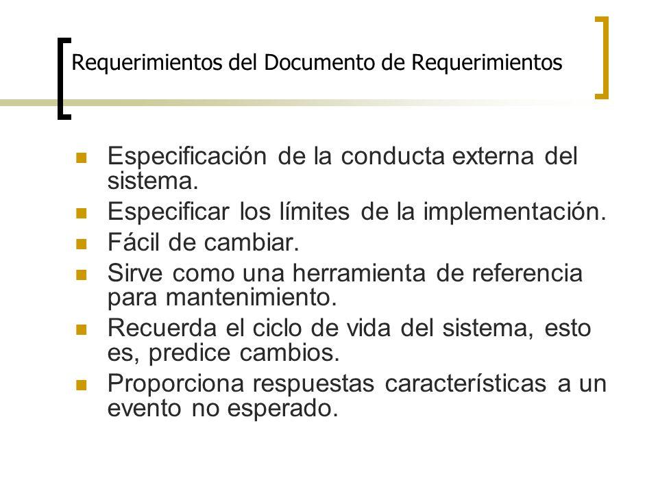 Requerimientos del Documento de Requerimientos Especificación de la conducta externa del sistema. Especificar los límites de la implementación. Fácil