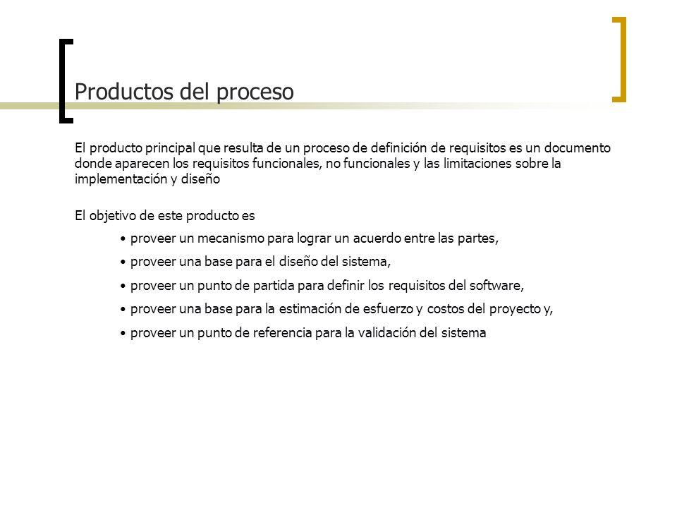Productos del proceso El producto principal que resulta de un proceso de definición de requisitos es un documento donde aparecen los requisitos funcio