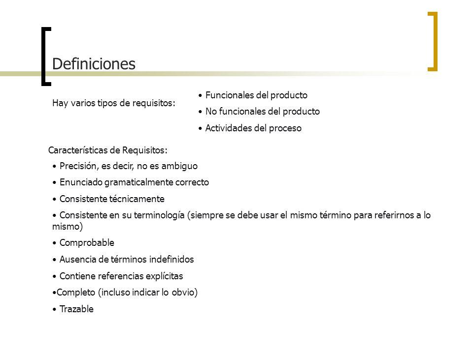 Definiciones Hay varios tipos de requisitos: Funcionales del producto No funcionales del producto Actividades del proceso Características de Requisito