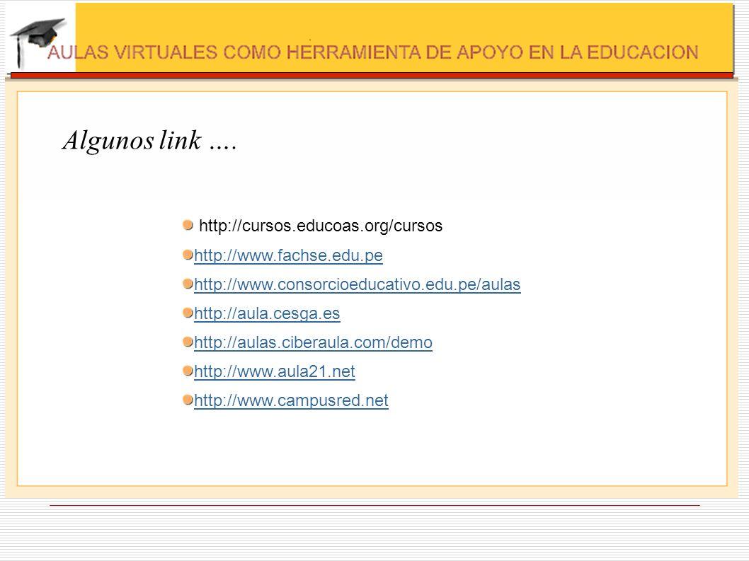 Algunos link …. http://cursos.educoas.org/cursos http://www.fachse.edu.pe http://www.consorcioeducativo.edu.pe/aulas http://aula.cesga.es http://aulas