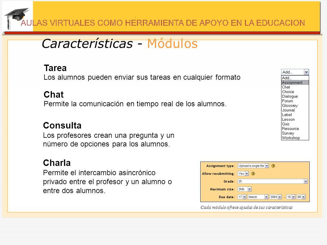 Características - Módulos Tarea Los alumnos pueden enviar sus tareas en cualquier formato Chat Permite la comunicación en tiempo real de los alumnos.