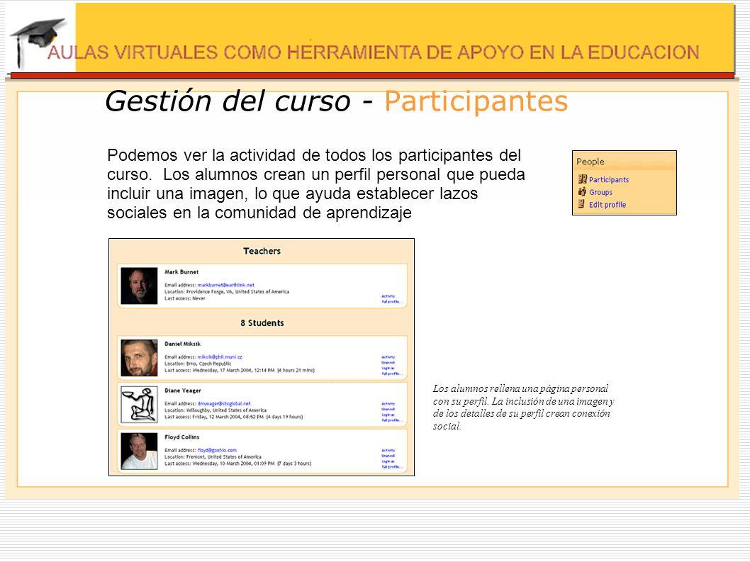 Gestión del curso - Participantes Podemos ver la actividad de todos los participantes del curso. Los alumnos crean un perfil personal que pueda inclui
