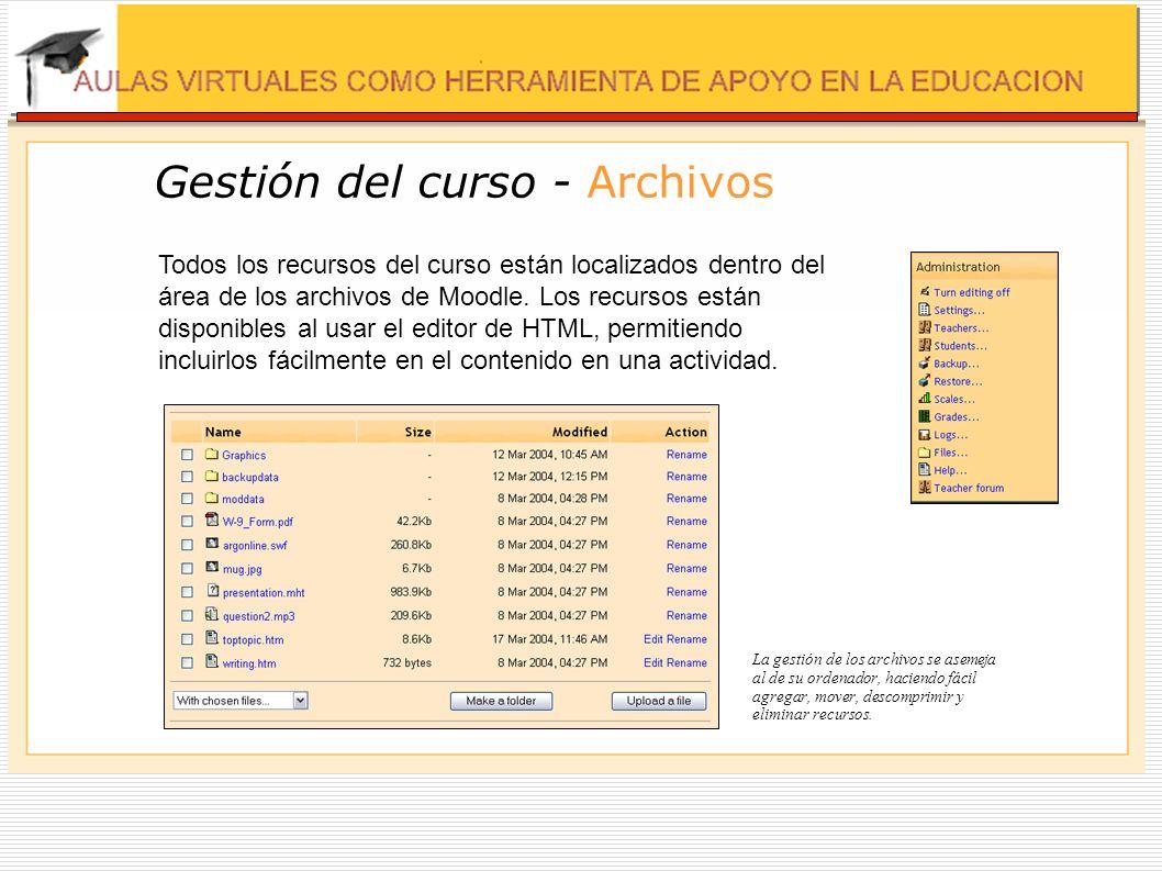 Gestión del curso - Archivos Todos los recursos del curso están localizados dentro del área de los archivos de Moodle. Los recursos están disponibles