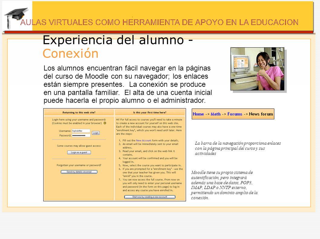 Experiencia del alumno - Conexión Los alumnos encuentran fácil navegar en la páginas del curso de Moodle con su navegador; los enlaces están siempre p