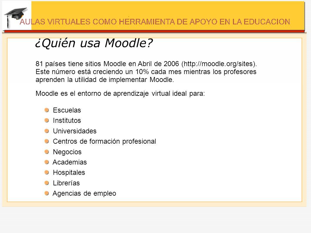 81 países tiene sitios Moodle en Abril de 2006 (http://moodle.org/sites). Este número está creciendo un 10% cada mes mientras los profesores aprenden