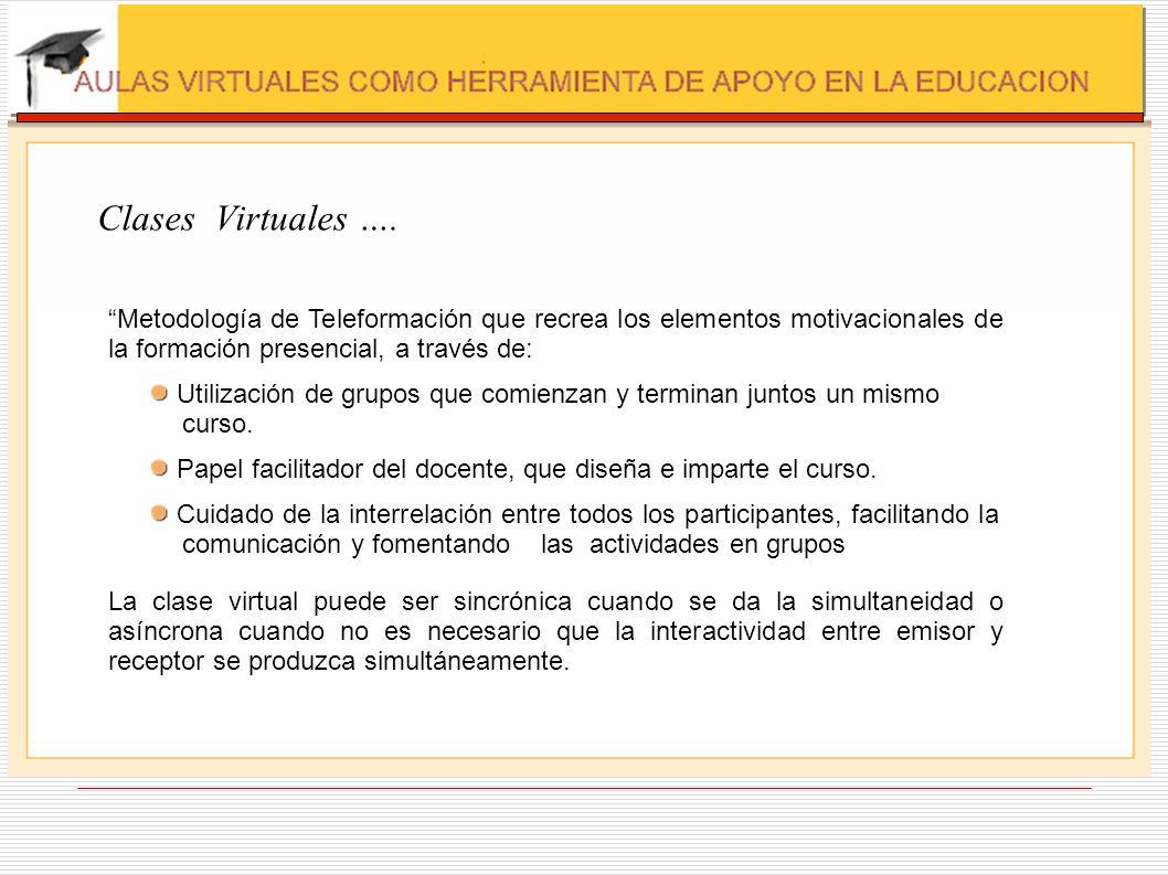 Clases Virtuales …. Metodología de Teleformación que recrea los elementos motivacionales de la formación presencial, a través de: Utilización de grupo