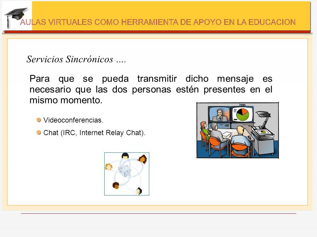 Servicios Sincrónicos …. Para que se pueda transmitir dicho mensaje es necesario que las dos personas estén presentes en el mismo momento. Videoconfer