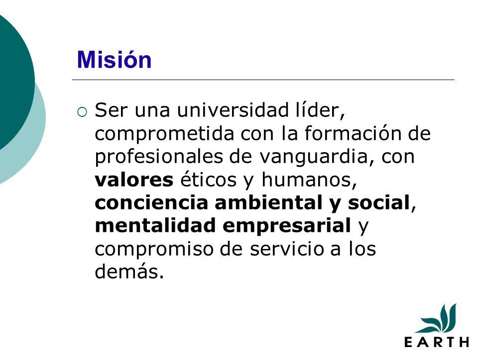 Misión Ser una universidad líder, comprometida con la formación de profesionales de vanguardia, con valores éticos y humanos, conciencia ambiental y social, mentalidad empresarial y compromiso de servicio a los demás.
