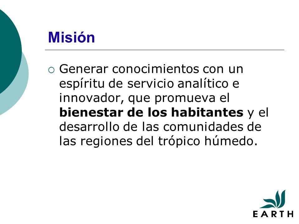 Misión Generar conocimientos con un espíritu de servicio analítico e innovador, que promueva el bienestar de los habitantes y el desarrollo de las comunidades de las regiones del trópico húmedo.