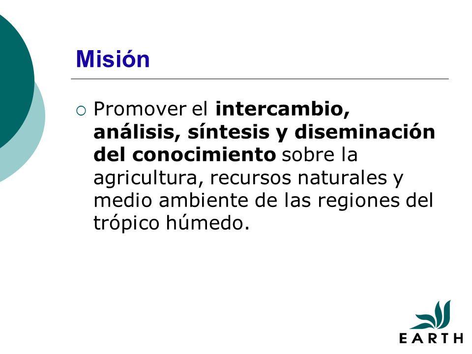 Misión Promover el intercambio, análisis, síntesis y diseminación del conocimiento sobre la agricultura, recursos naturales y medio ambiente de las regiones del trópico húmedo.