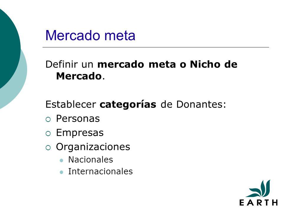 Mercado meta Definir un mercado meta o Nicho de Mercado.