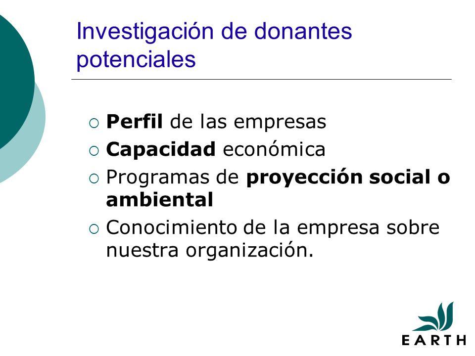 Investigación de donantes potenciales Perfil de las empresas Capacidad económica Programas de proyección social o ambiental Conocimiento de la empresa sobre nuestra organización.