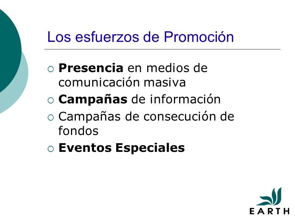 Los esfuerzos de Promoción Presencia en medios de comunicación masiva Campañas de información Campañas de consecución de fondos Eventos Especiales