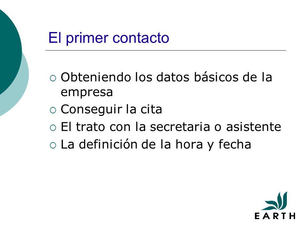 El primer contacto Obteniendo los datos básicos de la empresa Conseguir la cita El trato con la secretaria o asistente La definición de la hora y fecha
