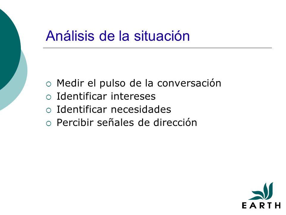 Análisis de la situación Medir el pulso de la conversación Identificar intereses Identificar necesidades Percibir señales de dirección
