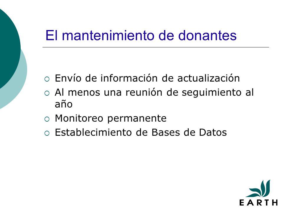 El mantenimiento de donantes Envío de información de actualización Al menos una reunión de seguimiento al año Monitoreo permanente Establecimiento de Bases de Datos