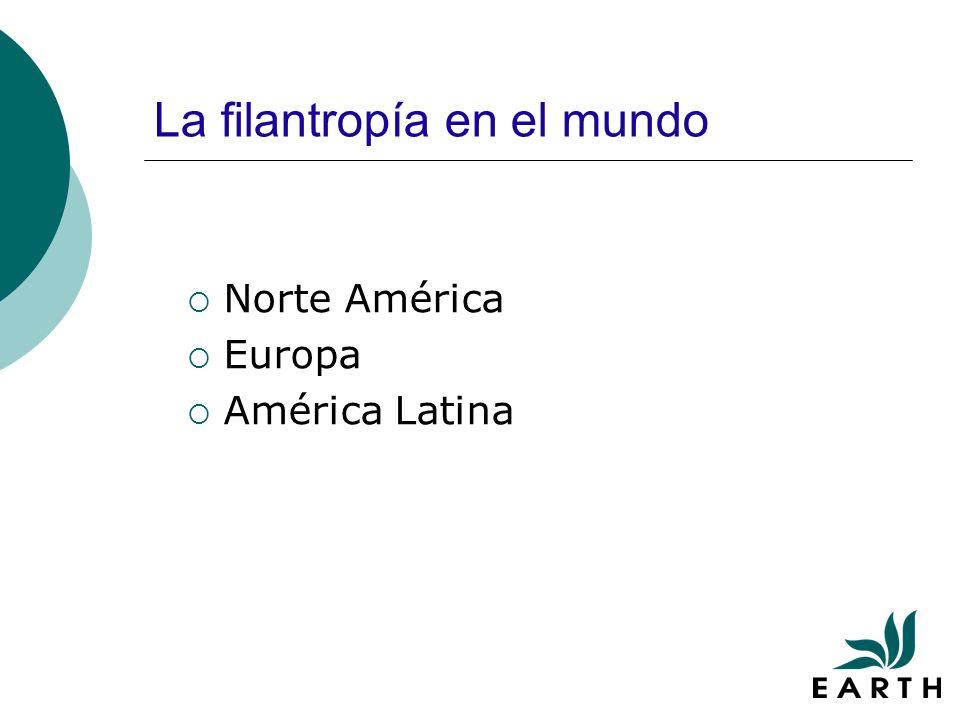 La filantropía en el mundo Norte América Europa América Latina
