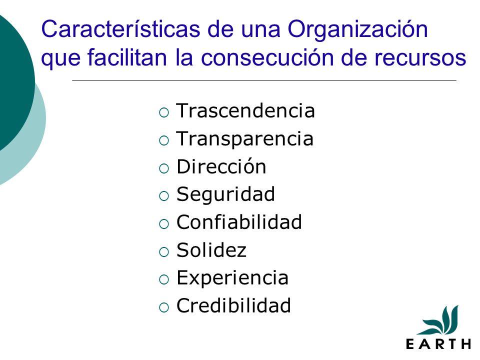 Características de una Organización que facilitan la consecución de recursos Trascendencia Transparencia Dirección Seguridad Confiabilidad Solidez Experiencia Credibilidad