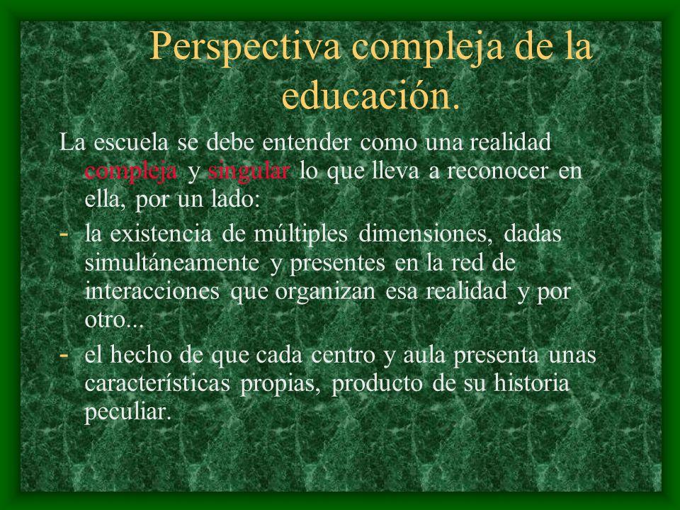 ASPECTO ESTRUCTURAL DEL M.I.E. El modelo de Investigación en la Escuela se estructura alrededor de tres perspectivas teóricas: a. Perspectiva compleja