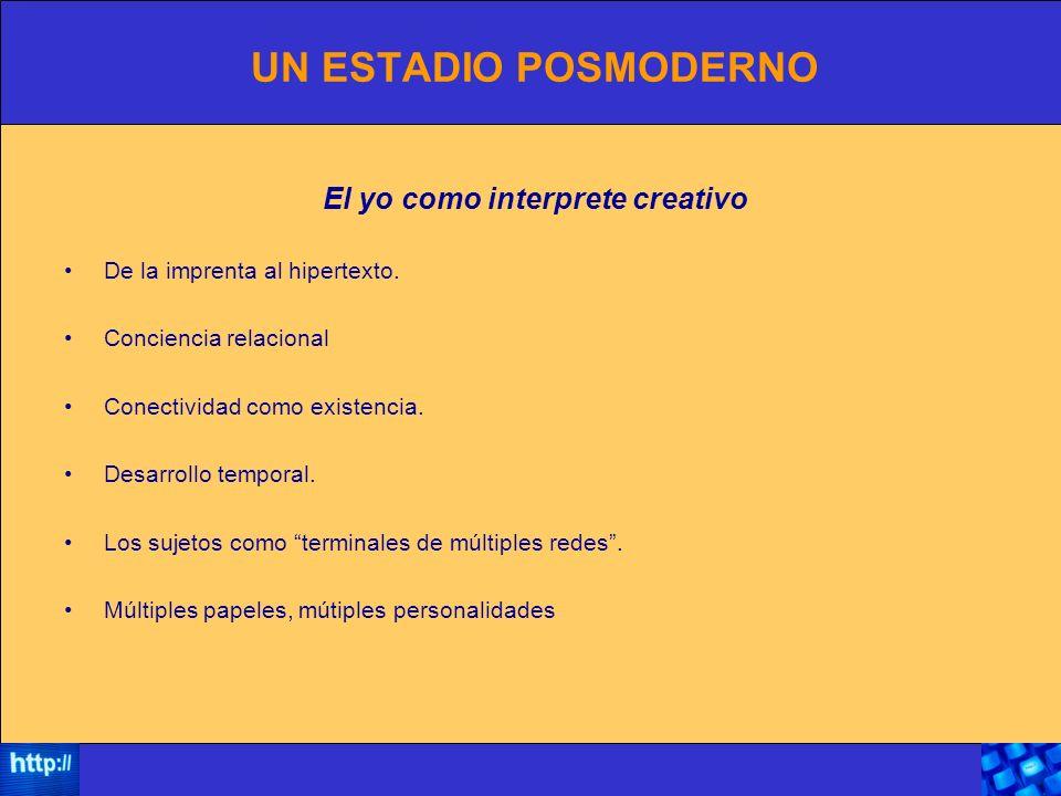 UN ESTADIO POSMODERNO El yo como interprete creativo De la imprenta al hipertexto.
