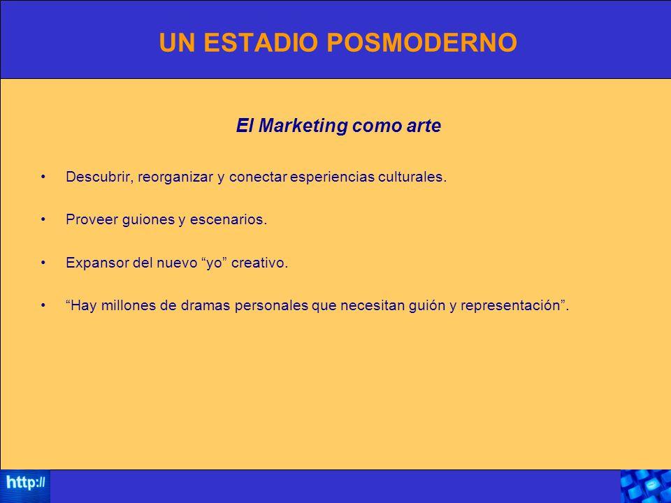 UN ESTADIO POSMODERNO El Marketing como arte Descubrir, reorganizar y conectar esperiencias culturales.