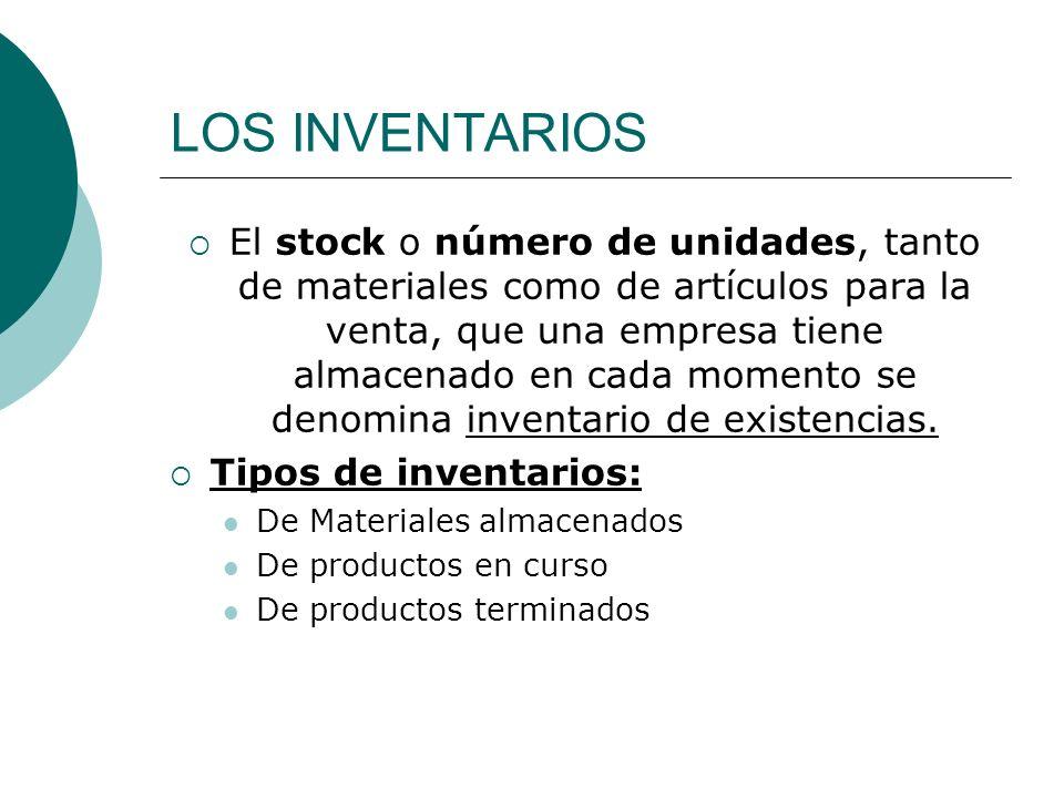 LOS INVENTARIOS El stock o número de unidades, tanto de materiales como de artículos para la venta, que una empresa tiene almacenado en cada momento s