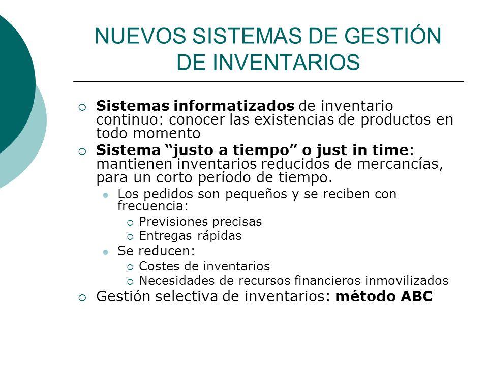 NUEVOS SISTEMAS DE GESTIÓN DE INVENTARIOS Sistemas informatizados de inventario continuo: conocer las existencias de productos en todo momento Sistema