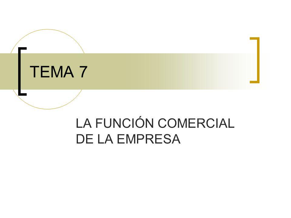 TEMA 7 LA FUNCIÓN COMERCIAL DE LA EMPRESA