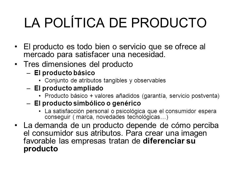 LA POLÍTICA DE PRODUCTO El producto es todo bien o servicio que se ofrece al mercado para satisfacer una necesidad. Tres dimensiones del producto –El