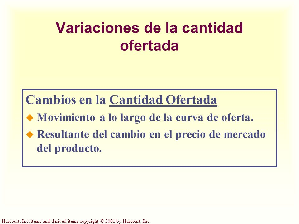 Harcourt, Inc. items and derived items copyright © 2001 by Harcourt, Inc. Variaciones de la cantidad ofertada Cambios en la Cantidad Ofertada u Movimi