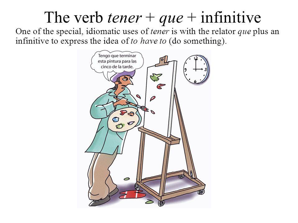 The verb tener + que + infinitive tengo tienes tiene tenemos tenéis tienen We start with an appropriate person and number of tener que...