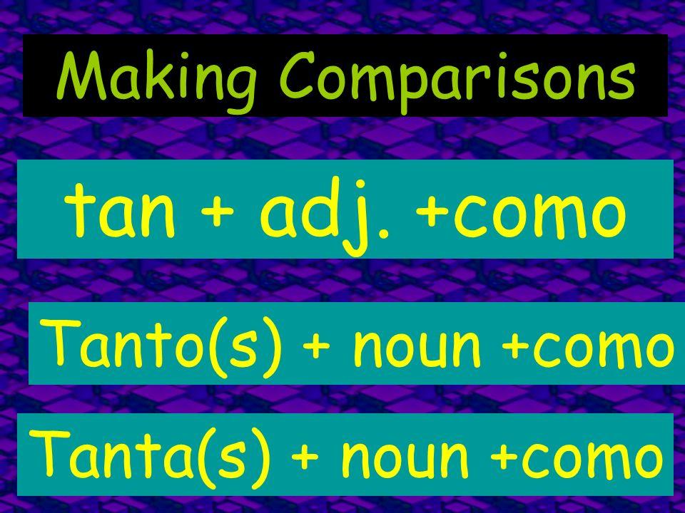 Making Comparisons tan + adj. +como Tanto(s) + noun +como Tanta(s) + noun +como