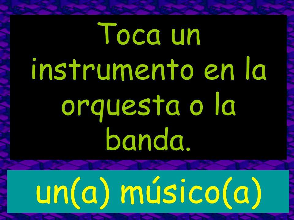 Toca un instrumento en la orquesta o la banda. un(a) músico(a)