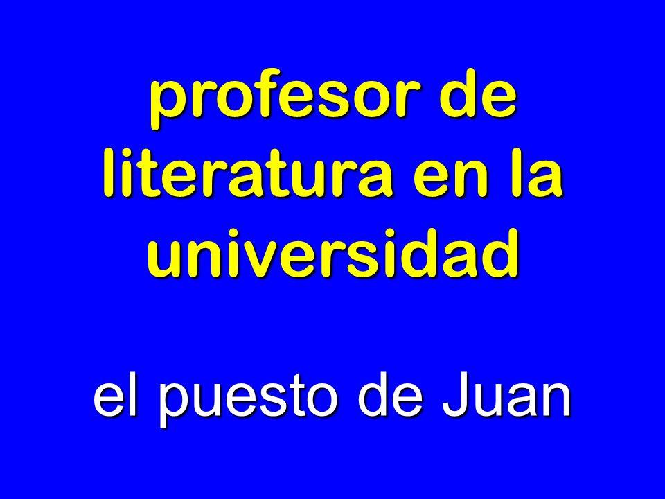 profesor de literatura en la universidad el puesto de Juan