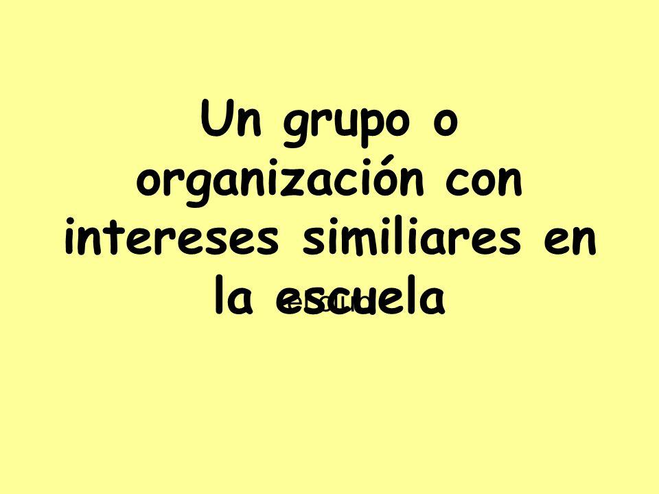 Un grupo o organización con intereses similiares en la escuela el club