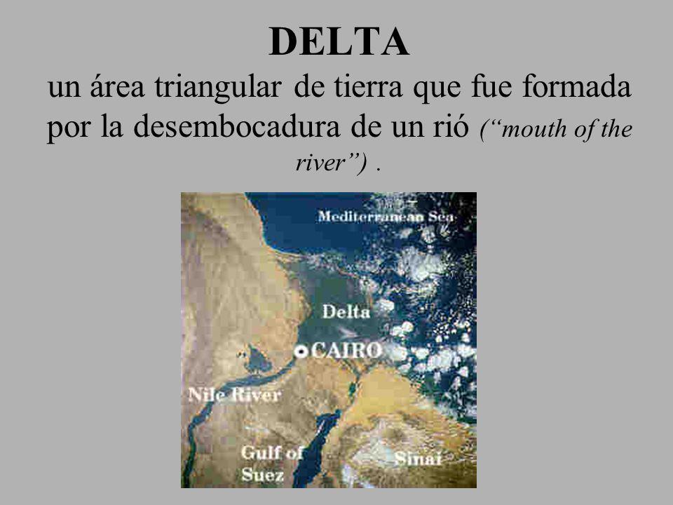 DELTA un área triangular de tierra que fue formada por la desembocadura de un rió (mouth of the river).