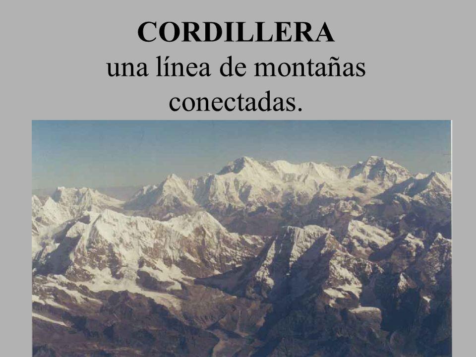 CORDILLERA una línea de montañas conectadas.