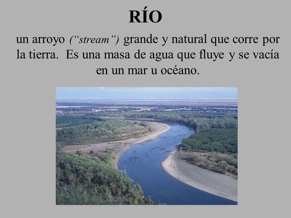 RÍORÍO un arroyo (stream) grande y natural que corre por la tierra. Es una masa de agua que fluye y se vacía en un mar u océano.