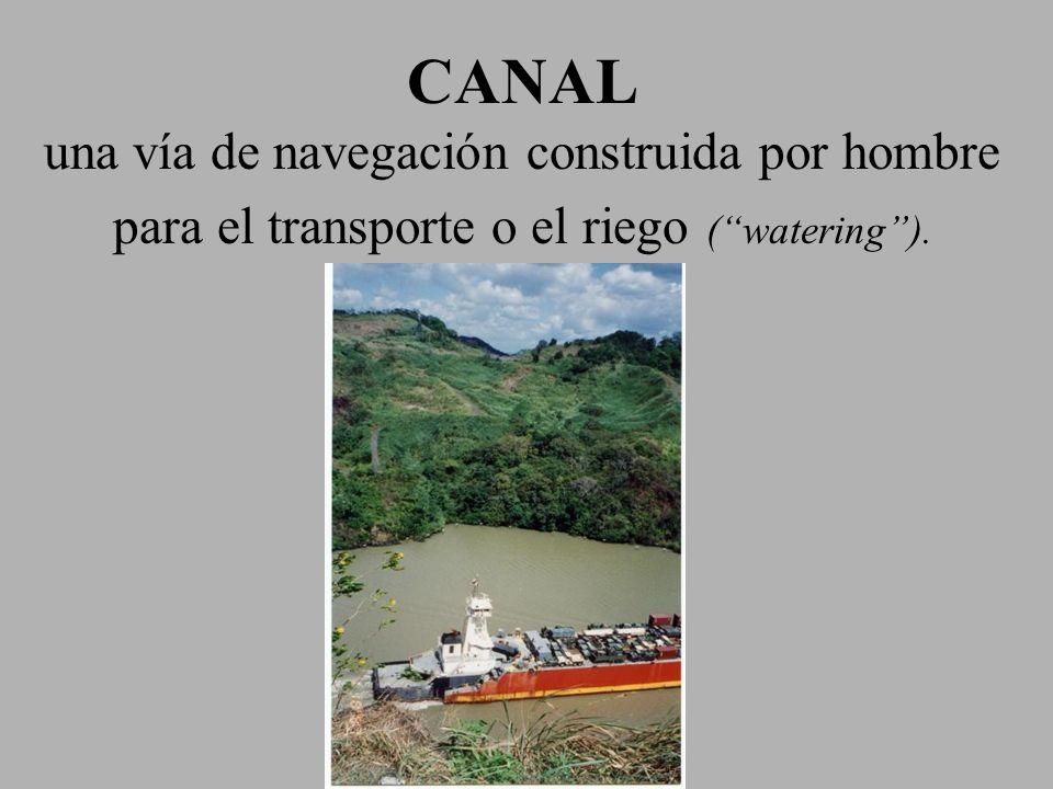 CANAL una vía de navegación construida por hombre para el transporte o el riego (watering).