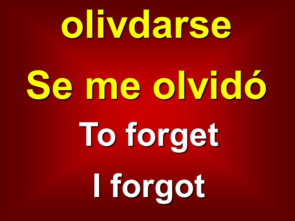 olivdarse Se me olvidó To forget I forgot