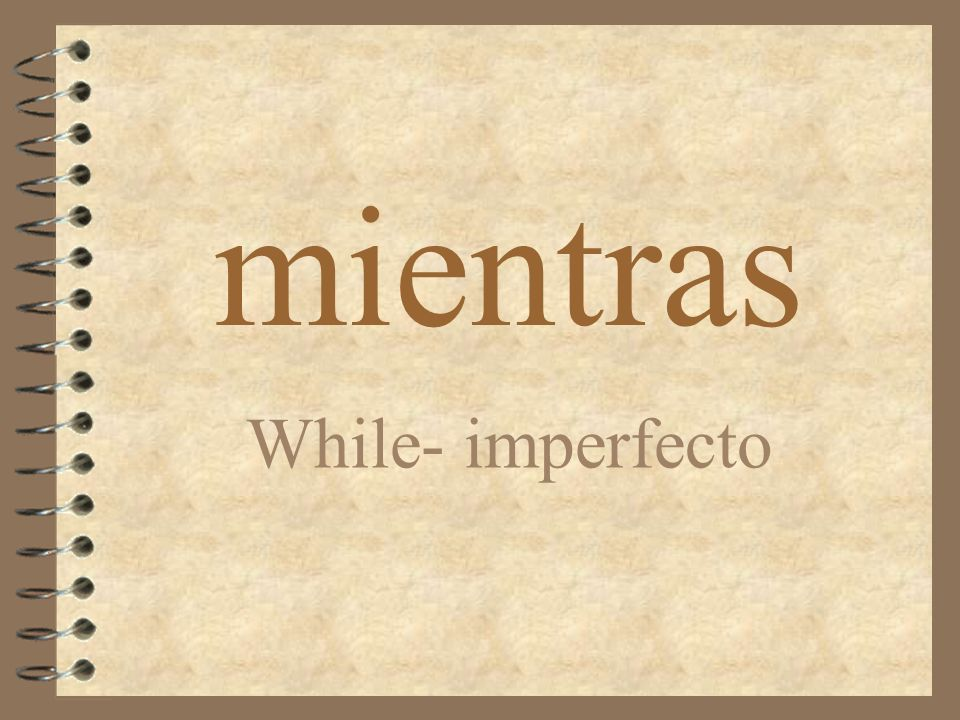mientras While- imperfecto