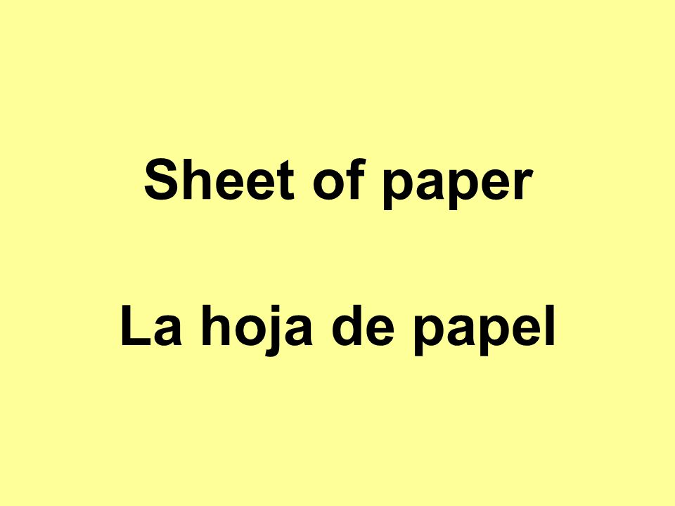 Sheet of paper La hoja de papel