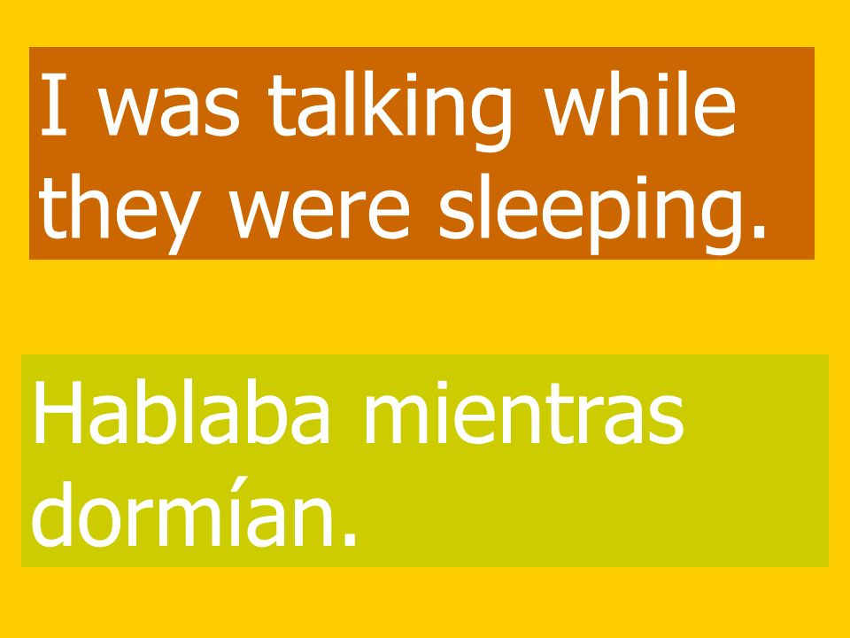 I was talking while they were sleeping. Hablaba mientras dormían.