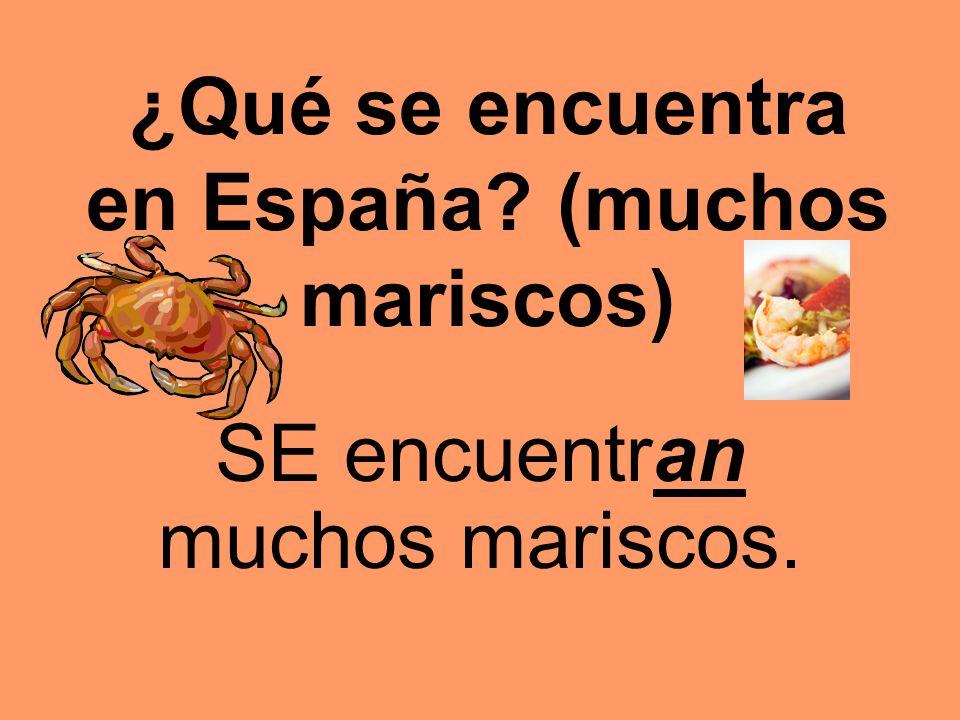 ¿Qué se encuentra en España? (muchos mariscos) SE encuentran muchos mariscos.
