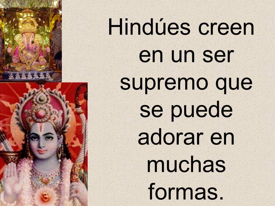 Hindúes creen en un ser supremo que se puede adorar en muchas formas.