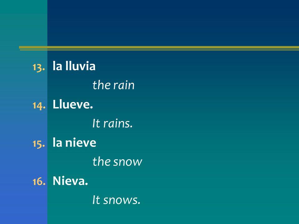 13. la lluvia the rain 14. Llueve. It rains. 15. la nieve the snow 16. Nieva. It snows.